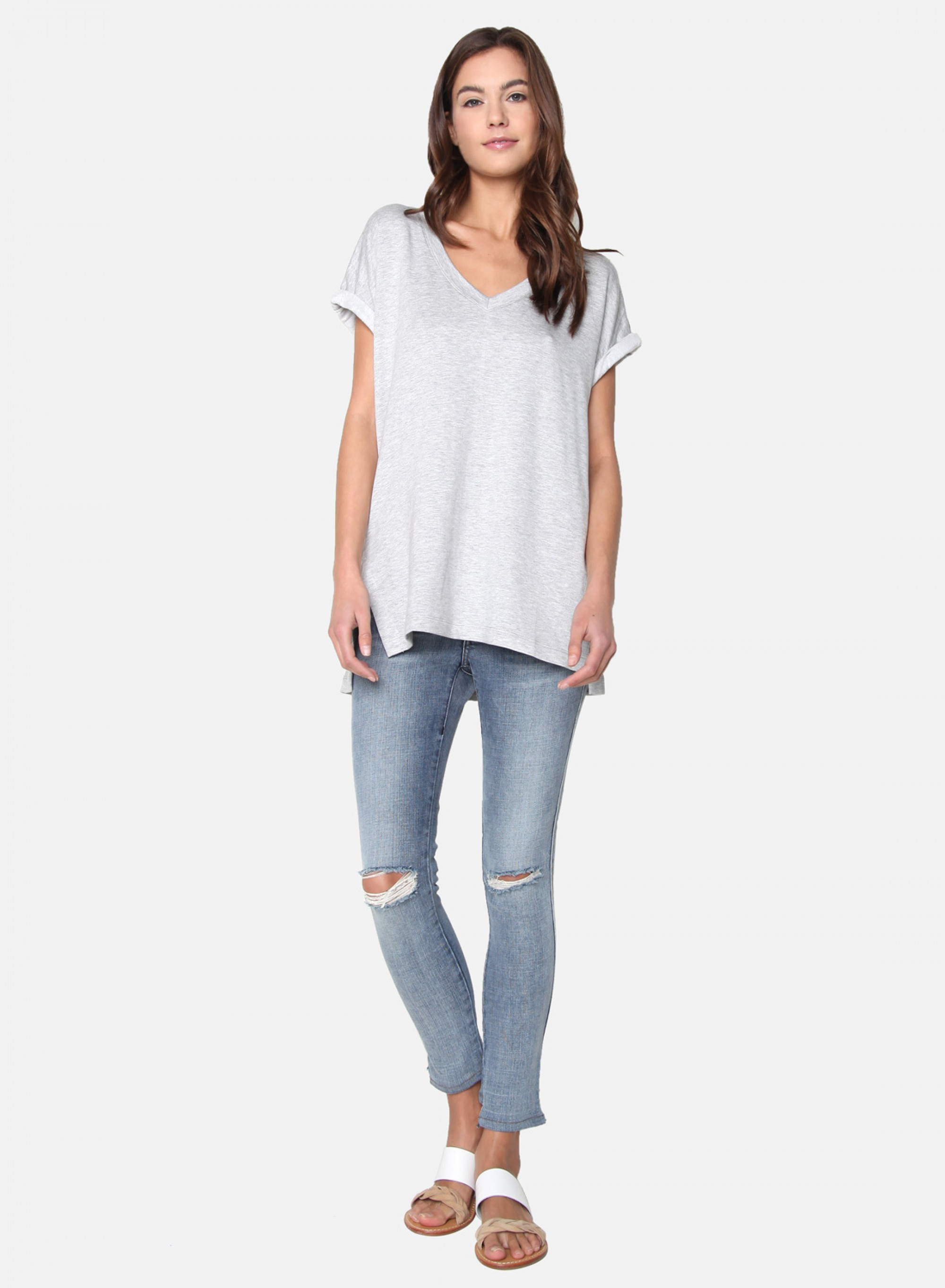 V-Neck Cuffed Sleeve T
